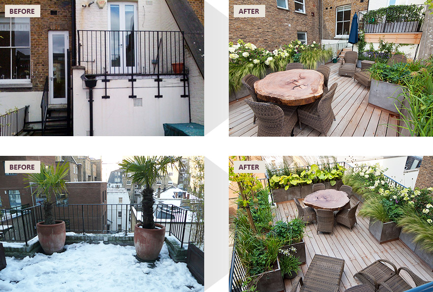 South Kensington rooftop garden before and after